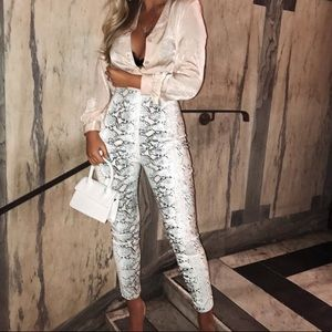 White Snakeskin Faux Leather Skinny Pants